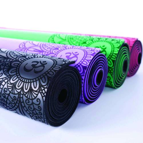 Yoga mat made of natural rubber.